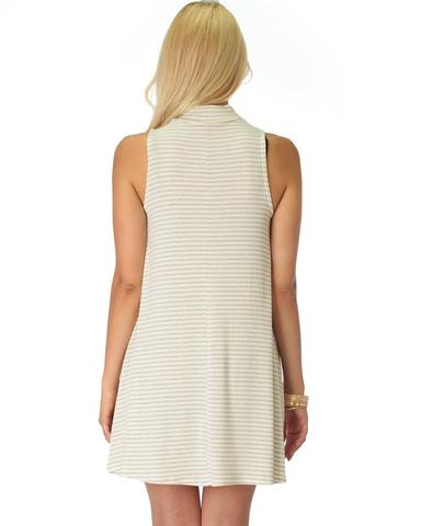 Lyss Loo Olivia Tank Striped Taupe Shift Dress - Jeanetteshus