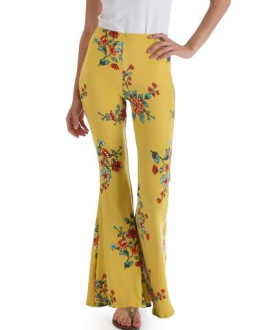 Stepping Out Floral Flare Pants In Yummy Farbric