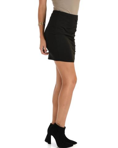 Lyss Loo Keep It Moving Ruched Black Pencil Skirt - Jeanetteshus