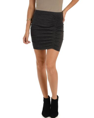 Lyss Loo Keep It Moving Ruched Charcoal Pencil Skirt - Jeanetteshus