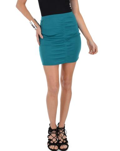 Lyss Loo Keep It Moving Ruched Green Pencil Skirt - Jeanetteshus
