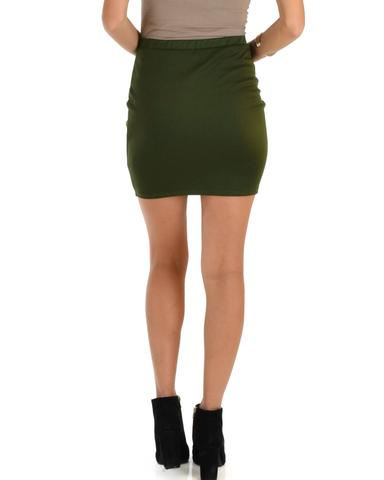 Lyss Loo Keep It Moving Ruched Olive Pencil Skirt - Jeanetteshus