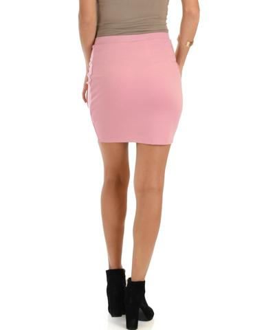 Lyss Loo Keep It Moving Ruched Pink Pencil Skirt - Jeanetteshus