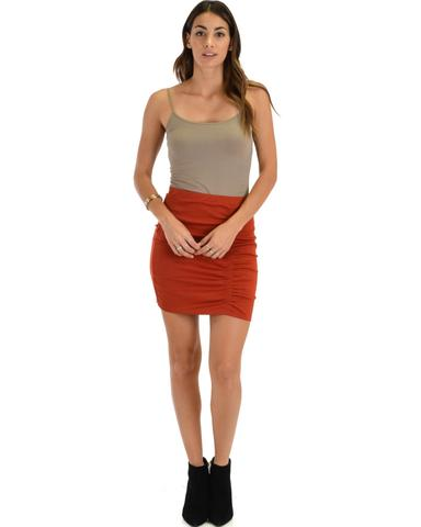 Lyss Loo Keep It Moving Ruched Rust Pencil Skirt - Jeanetteshus