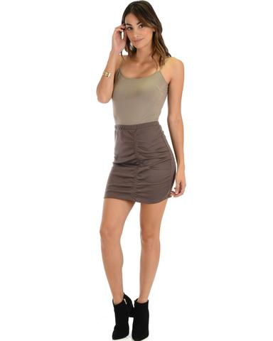 Lyss Loo Keep It Moving Ruched Taupe Pencil Skirt - Jeanetteshus