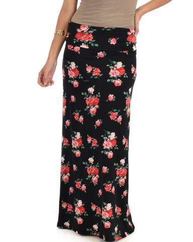 Casablanca Fold Over Floral Maxi Skirt