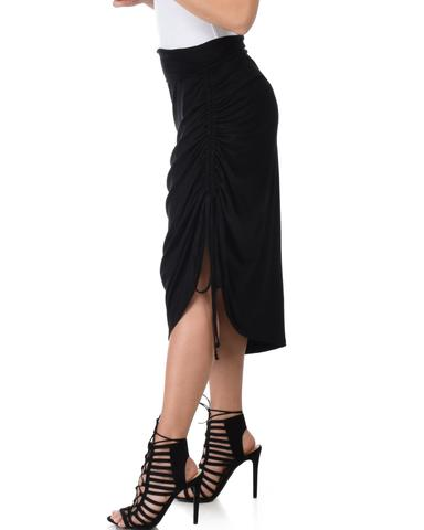 Lyss Loo Tie That Knot Fold Over Black Maxi Skirt - Jeanetteshus