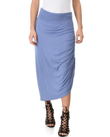 Lyss Loo Tie That Knot Fold Over Blue Maxi Skirt - Jeanetteshus