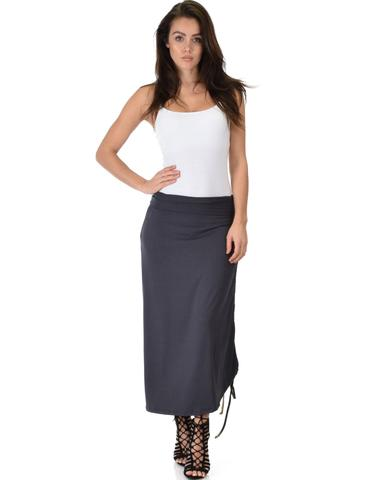 Lyss Loo Tie That Knot Fold Over Charcoal Maxi Skirt - Jeanetteshus