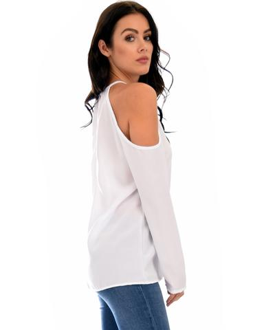 Lyss Loo Melt My Heart Cold Shoulder Ivory Blouse Top - Jeanetteshus