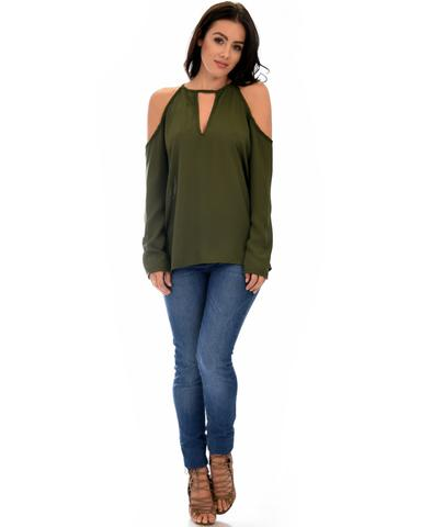 Lyss Loo Melt My Heart Cold Shoulder Olive Blouse Top - Jeanetteshus