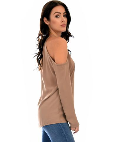 Lyss Loo Melt My Heart Cold Shoulder Taupe Blouse Top - Jeanetteshus