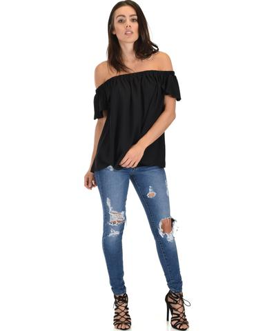 Lyss Loo Sunny Honey Off The Shoulder Sheer Black Blouse Top - Jeanetteshus