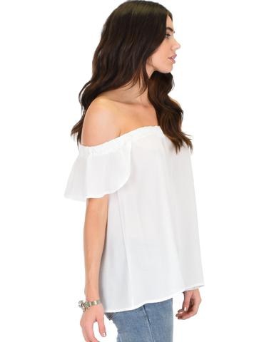 Lyss Loo Sunny Honey Off The Shoulder Sheer Ivory Blouse Top - Jeanetteshus