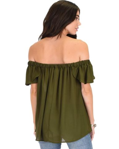 Lyss Loo Sunny Honey Off The Shoulder Sheer Olive Blouse Top - Jeanetteshus