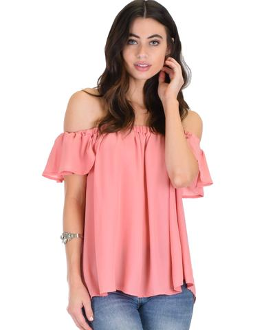 Lyss Loo Sunny Honey Off The Shoulder Sheer Pink Blouse Top - Jeanetteshus
