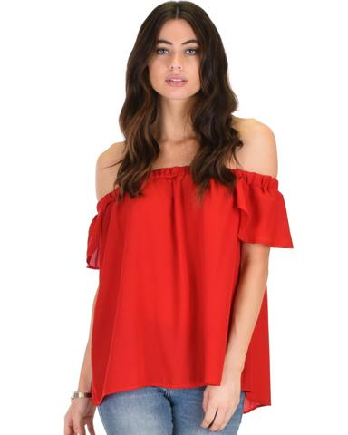 Lyss Loo Sunny Honey Off The Shoulder Sheer Red Blouse Top - Jeanetteshus