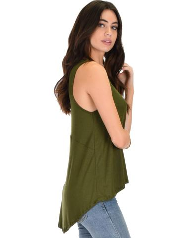 Lyss Loo My First Crush Ribbed Olive Top With Keyhole Back - Jeanetteshus