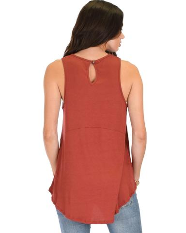 Lyss Loo My First Crush Ribbed Rust Top With Keyhole Back - Jeanetteshus