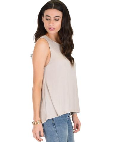Lyss Loo My First Crush Ribbed Taupe Top With Keyhole Back - Jeanetteshus