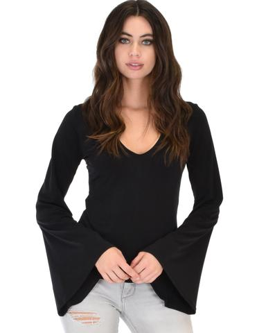 Lyss Loo Ring My Bell Sleeve Black V-Neck Top - Jeanetteshus