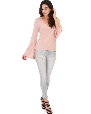 Lyss Loo Ring My Bell Sleeve Mauve V-Neck Top - Jeanetteshus