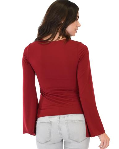 Lyss Loo Ring My Bell Sleeve Burgundy V-Neck Top - Jeanetteshus