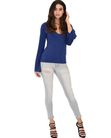 Lyss Loo Ring My Bell Sleeve Navy V-Neck Top - Jeanetteshus