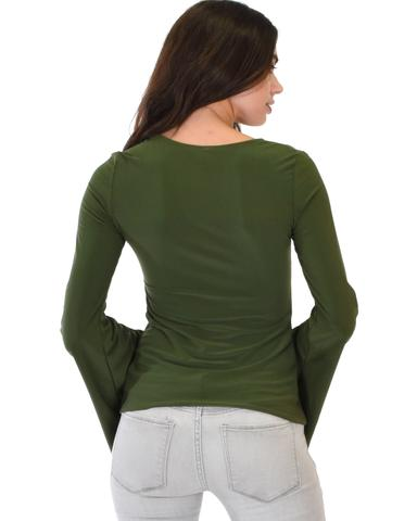Lyss Loo Ring My Bell Sleeve Olive V-Neck Top - Jeanetteshus