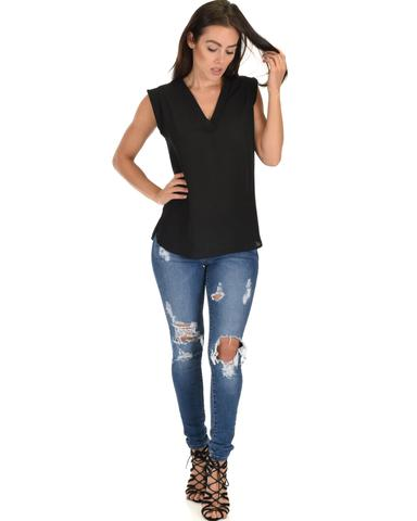 Lyss Loo Queen of Hearts Deep V-Neck Sheer Black Blouse Top - Jeanetteshus