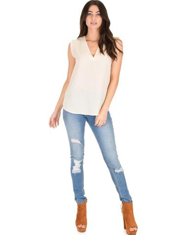 Lyss Loo Queen of Hearts Deep V-Neck Sheer Ivory Blouse Top - Jeanetteshus