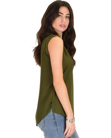 Lyss Loo Queen of Hearts Deep V-Neck Sheer Olive Blouse Top - Jeanetteshus