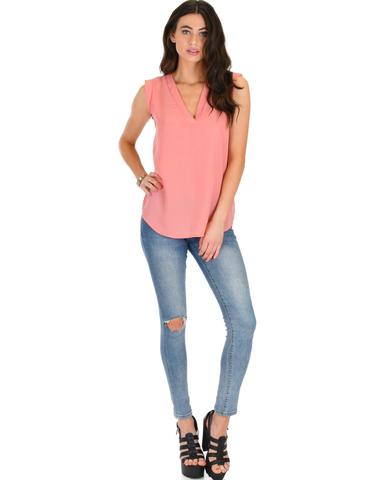 Lyss Loo Queen of Hearts Deep V-Neck Sheer Pink Blouse Top - Jeanetteshus