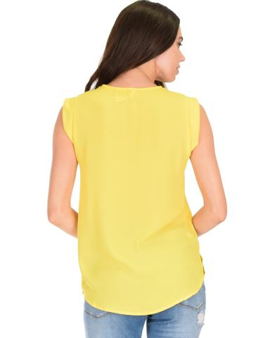 Lyss Loo Queen of Hearts Deep V-Neck Sheer Yellow Blouse Top - Jeanetteshus