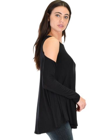 Lyss Loo In Good Company Cold Shoulder Black Long Sleeve Top - Jeanetteshus