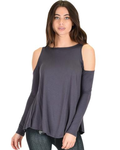 Lyss Loo In Good Company Cold Shoulder Charcoal Long Sleeve Top - Jeanetteshus