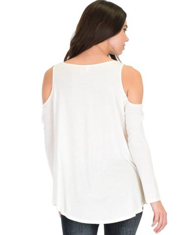 Lyss Loo In Good Company Cold Shoulder Ivory Long Sleeve Top - Jeanetteshus