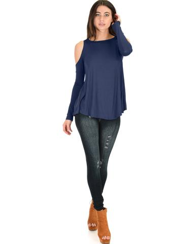 Lyss Loo In Good Company Cold Shoulder Navy Long Sleeve Top - Jeanetteshus