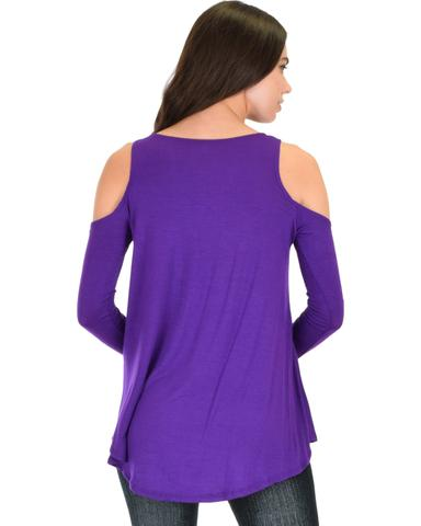 Lyss Loo In Good Company Cold Shoulder Purple Long Sleeve Top - Jeanetteshus