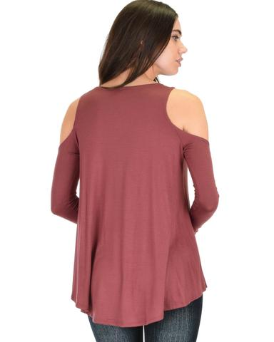 Lyss Loo In Good Company Cold Shoulder Marsala Long Sleeve Top - Jeanetteshus