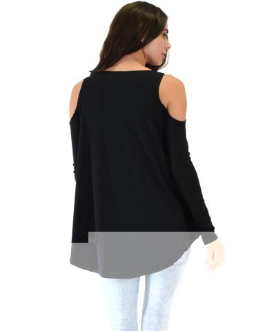 Lyss Loo In Good Company Ribbed Cold Shoulder Black Long Sleeve Top - Jeanetteshus
