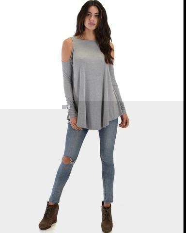 Lyss Loo In Good Company Ribbed Cold Shoulder Grey Long Sleeve Top - Jeanetteshus