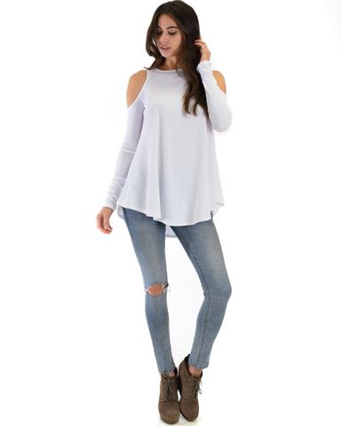 Lyss Loo In Good Company Ribbed Cold Shoulder Ivory Long Sleeve Top - Jeanetteshus