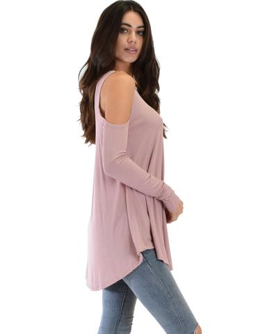 Lyss Loo In Good Company Ribbed Cold Shoulder Mauve Long Sleeve Top - Jeanetteshus
