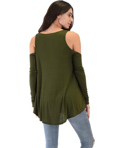Lyss Loo In Good Company Ribbed Cold Shoulder Olive Long Sleeve Top - Jeanetteshus