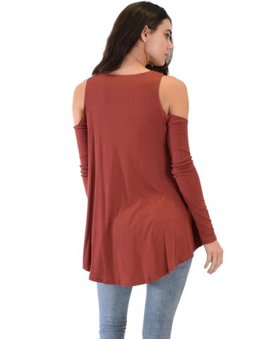 Lyss Loo In Good Company Ribbed Cold Shoulder Rust Long Sleeve Top - Jeanetteshus