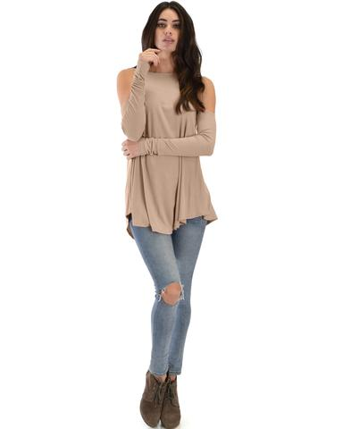 Lyss Loo In Good Company Ribbed Cold Shoulder Taupe Long Sleeve Top - Jeanetteshus