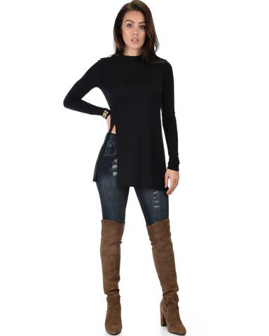 Lyss Loo Swap My Options Long Sleeve Slit Black Tunic Top - Jeanetteshus