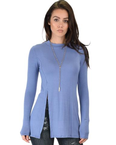 Lyss Loo Swap My Options Long Sleeve Slit Blue Tunic Top - Jeanetteshus