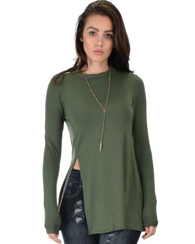 Lyss Loo Swap My Options Long Sleeve Slit Olive Tunic Top - Jeanetteshus